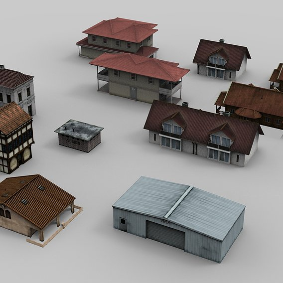 11 City Houses and Buildings Model Collection