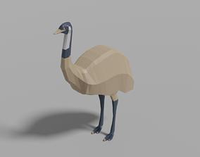 Cartoon Emu 3D asset