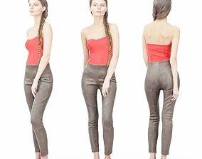 3D asset Girl in Red Top and Leggings Posing