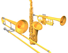 3D Horn Section Model Pack - Saxophone - Trumpet -