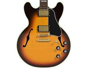 Guitar - Gibson ES Hollow Body - Tobacco 3D model 1