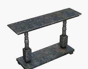 Ancient Black Stone Table 3D asset