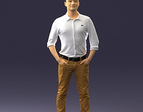 Man in yellow trousers and white shirt 0370 3D Print