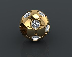 charm 3D printable model Gold ball carm with diamonds