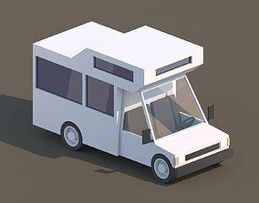 Cartoon Low Poly Car Motorhome 3D asset