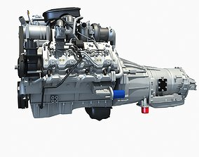 V8 Engine with Automatic Transmission 3D