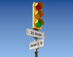 3D model Traffic Light with Retro Street Sign