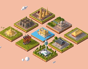 Cartoon Low Poly Asia Landmarks Pack 3D model