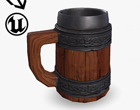 Fantasy Wooden Beer Mug 3D model