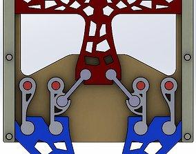 3D print model parallel gripping mechanism-4 bar-2 claws