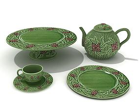 3D model Green Service Teapot Cup Plates
