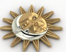 sun and moon pendant 3D printable model