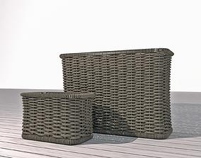 3D african wicker rectangular basket