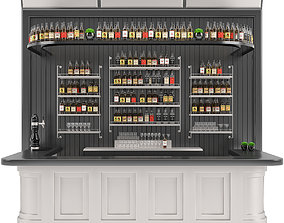 3D Bar set 01 part 04 bar counter and drinks and shelves