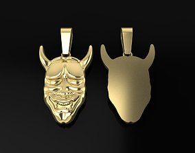 3D printable model Hannya Mask Pendant 45mm Large Size 1
