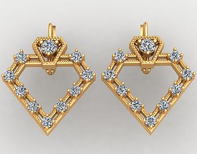 Brilliant Design Diamond Gold Earring 3D print model