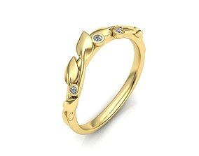 floral Leaves Engagement Band ring 3D print model