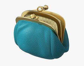 3D model PBR Female coin purse open