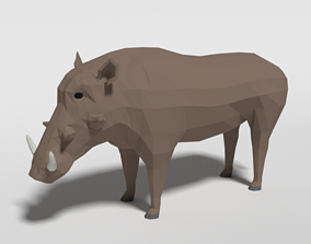 3D asset Low Poly Cartoon Warthog