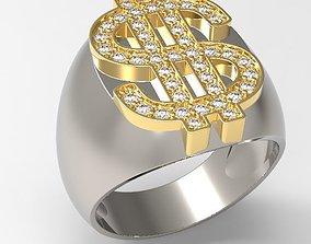Dollar sign men ring with diamond design 3D print model