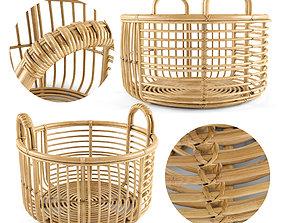 Java Rattan Baskets Low 3D model