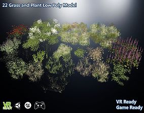 3D model Grass and Plant Low Poly