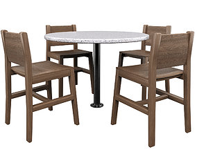 Table Wiht Chairs 3D asset game-ready