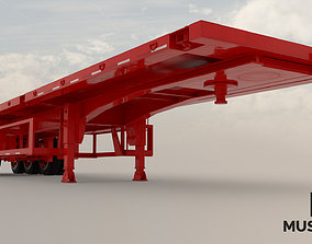 Trailer flatbed container 3D asset