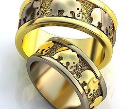 Gold Metal Rings 3D printable model rings elephant