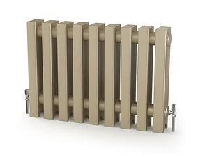 Grey Metal Radiator With Thermostat 3D model