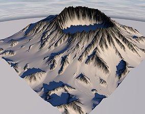 3D Terrain 012 Snowy Krater
