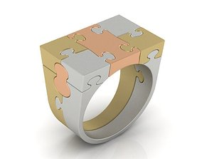 gold Puzzle ring 3D print model