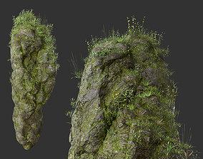 3D model HD Floating Mossy Rock 02 191205
