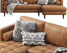 Joybird Briar Leather Sectional Sofa brown and 3D model 1