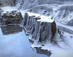 3D model Winter Snow Environment 2 With Frozen Lakes And