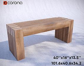 Wooden Bench 3D model VR / AR ready