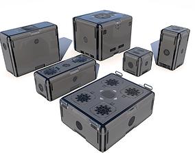Sci Fi grey cargo crates 3D asset