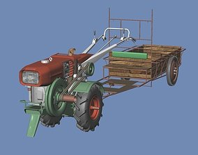 3D Cultivator and Tractor and Carts