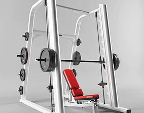 Smith machine and Multi-Adjustable Bench 3D