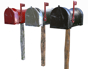 Old Mailboxes Collection Lowpoly 3D model
