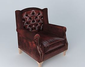 3D leather armchair brown