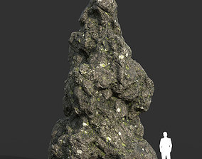 3D model Low poly Damaged Lichen Rock 16 190907