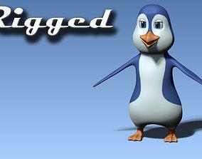 3D model rigged realtime Cartoon penguin