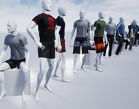 Male Mannequins with various clothing 3D model