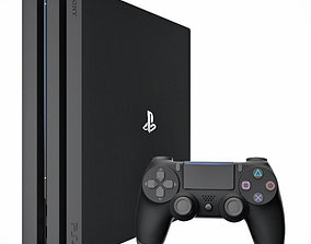 3D model Sony PlayStation 4 Pro with gamepad