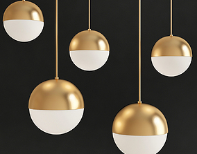 Suspension light Copper Light Pendant Orb 3D model