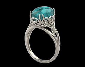 Women ring with cabochon 3dm stl vintage