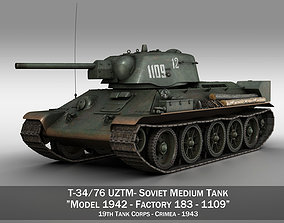 T-34-76 UZTM - Model 1942 - Soviet tank - 1109 3D
