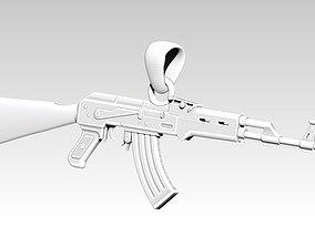 74 AK 47 gun handgun pendant necklace 3d
