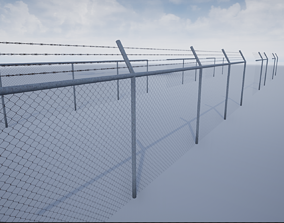 Lowpoly Modular Barbed Wire Fence 3D asset